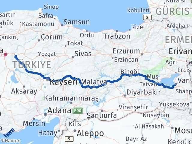 Van İpekyolu Kırıkkale Arası Kaç Km? Arası Kaç Km Saat? Nerede Yol Haritası Yakıt, Rota ve Mesafe Hesaplama