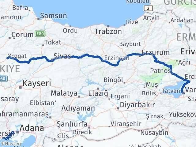 Van İpekyolu Yozgat Arası Kaç Km? Arası Kaç Km Saat? Nerede Yol Haritası Yakıt, Rota ve Mesafe Hesaplama