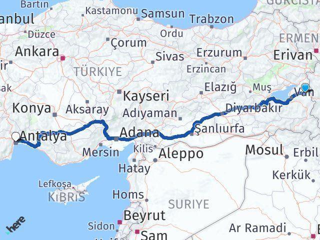 Van Özalp Antalya Arası Kaç Km? Arası Kaç Km Saat? Nerede Yol Haritası Yakıt, Rota ve Mesafe Hesaplama