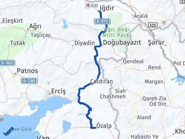 Van Özalp Iğdır Arası Kaç Km? Arası Kaç Km Saat? Nerede Yol Haritası Yakıt, Rota ve Mesafe Hesaplama