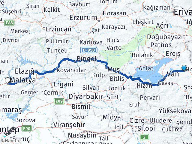Van Özalp Malatya Arası Kaç Km? Arası Kaç Km Saat? Nerede Yol Haritası Yakıt, Rota ve Mesafe Hesaplama
