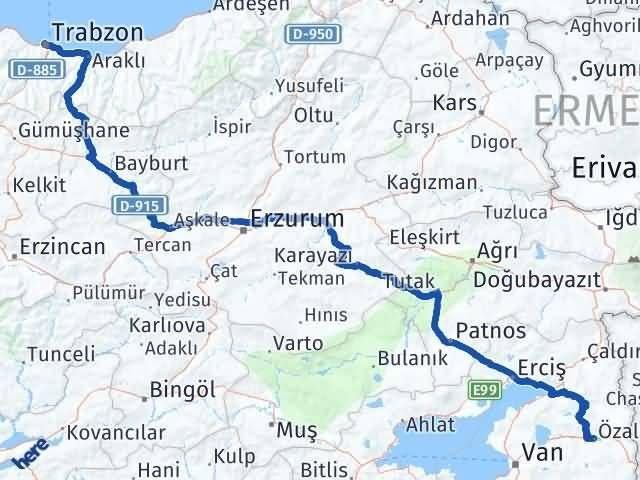 Van Özalp Trabzon Arası Kaç Km? Arası Kaç Km Saat? Nerede Yol Haritası Yakıt, Rota ve Mesafe Hesaplama