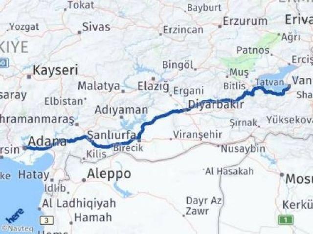 Van Tuşba Adana Arası Kaç Km? Arası Kaç Km Saat? Nerede Yol Haritası Yakıt, Rota ve Mesafe Hesaplama