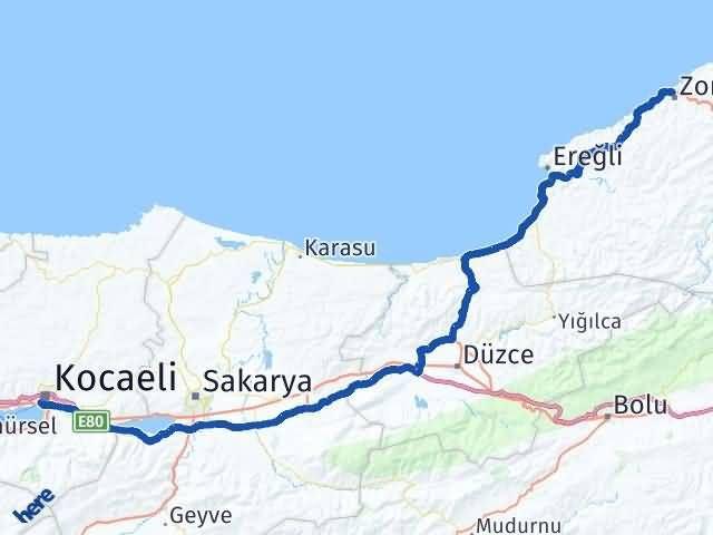 Zonguldak İzmit Arası Kaç Km? Arası Kaç Km Saat? Nerede Yol Haritası Yakıt, Rota ve Mesafe Hesaplama