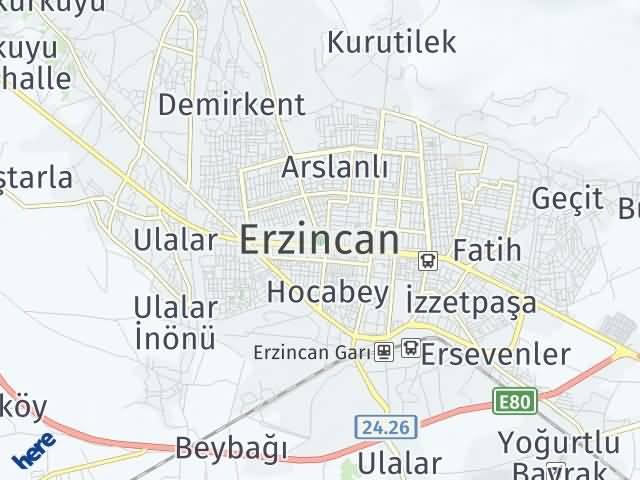 Erzincan Arası Kaç Km? Erzincan İlçeleri Şehir Haritası